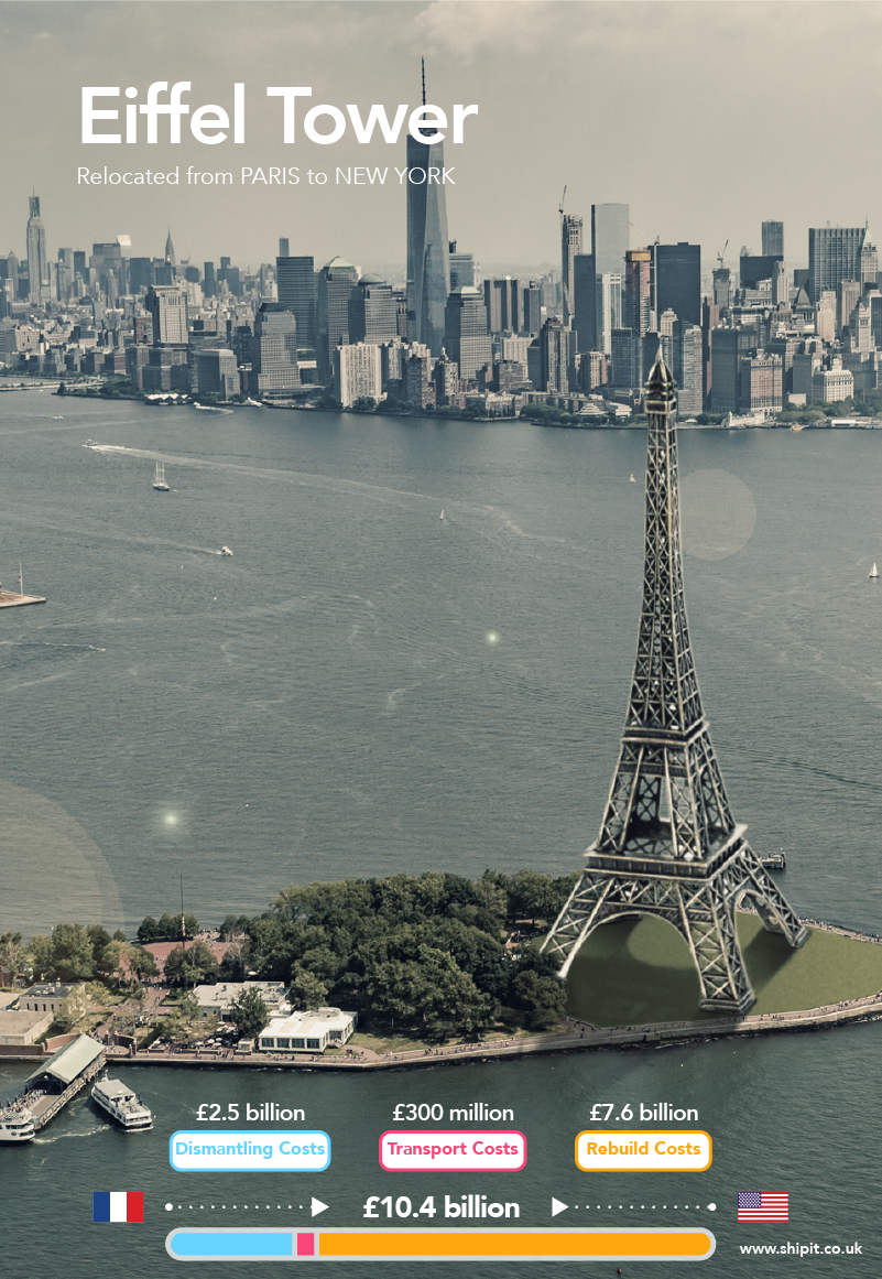 Eiffel Tower, relocated from Paris to New York