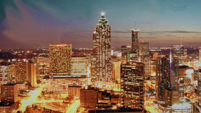 Atlanta cityscape at night