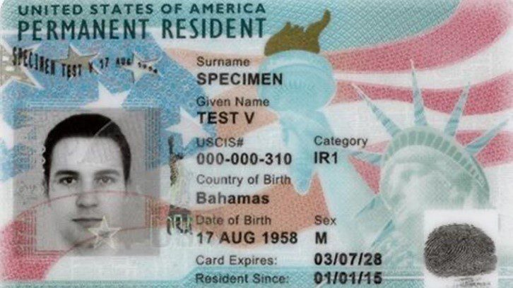 Example of a Green Card when Moving to the USA