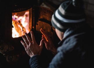 Keeping warm with an open fire