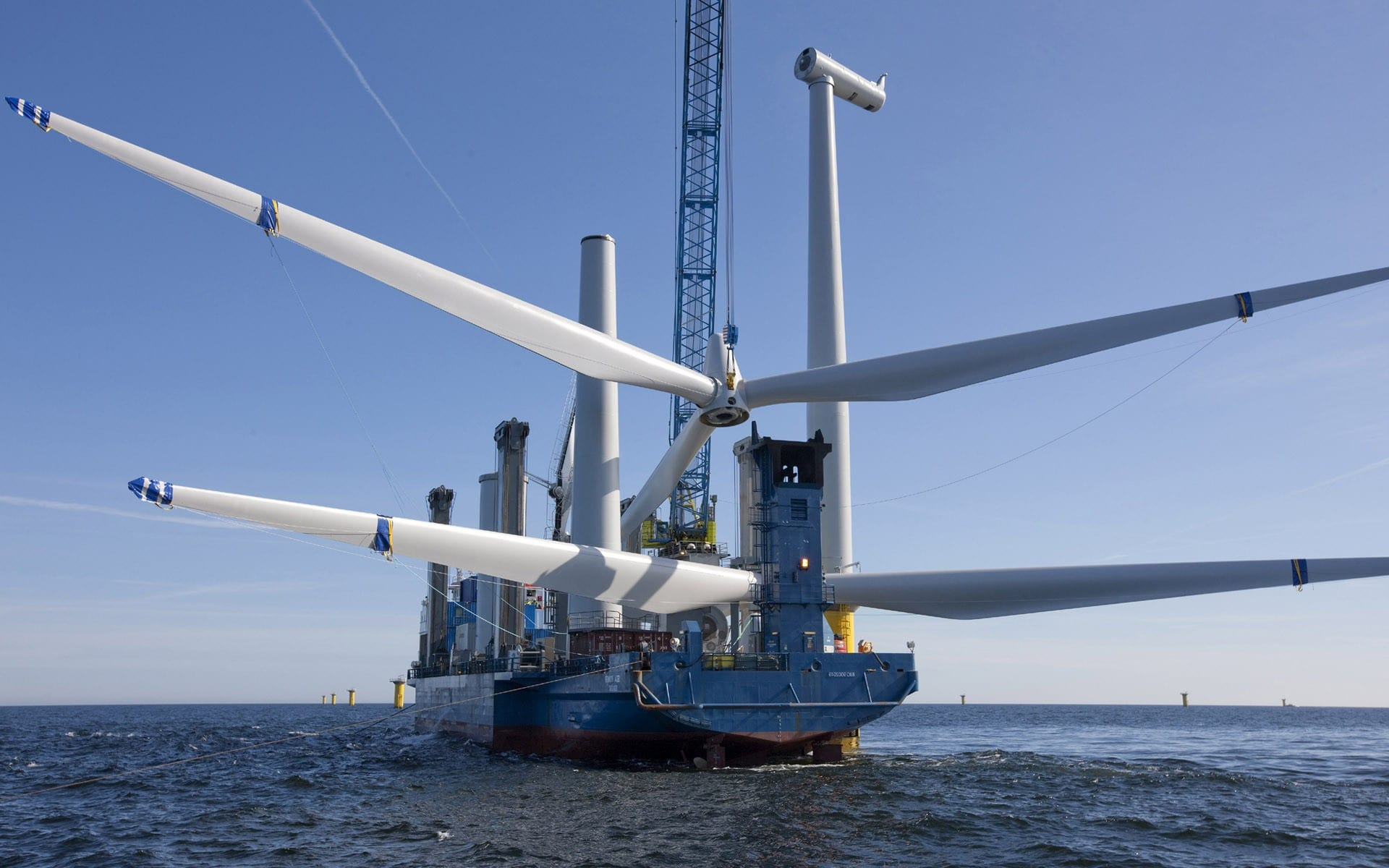 Turbines being constructed from the shipping vessel.
