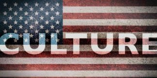 usa flag vintage with culture letters